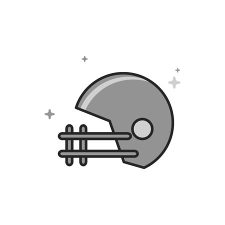 Football helmet icon in flat outlined grayscale style. Vector illustration.