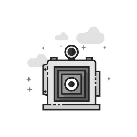 Large format camera icon in flat outlined grayscale style. Vector illustration.