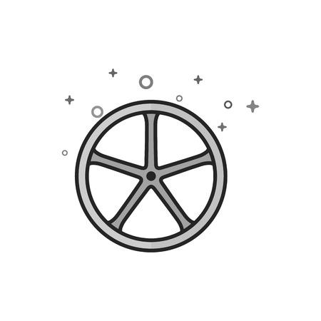 Bicycle wheel icon in flat outlined grayscale style. Vector illustration. Stock Illustratie