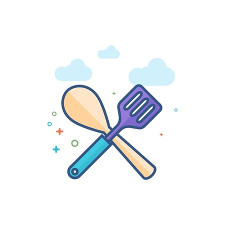 Spatula icon in outlined flat color style. Vector illustration.