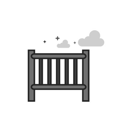 Baby bed icon in flat outlined grayscale style. Vector illustration. Illustration