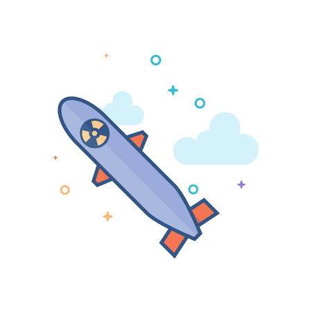 Missile icon in outlined flat color style. Vector illustration.