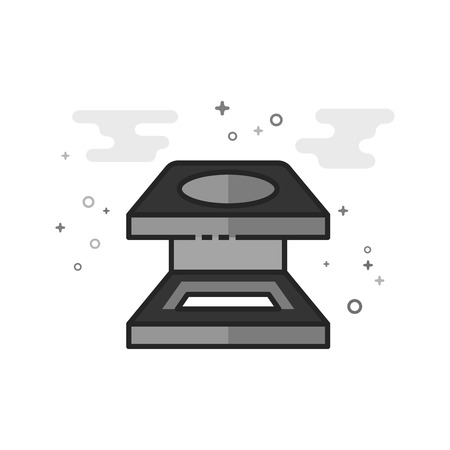 Printing magnifier icon in flat outlined grayscale style. Vector illustration.
