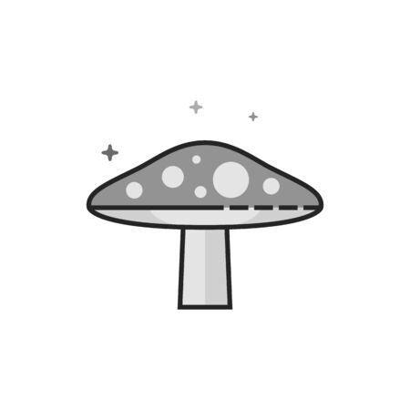 Mushroom icon in flat outlined grayscale style. Vector illustration.