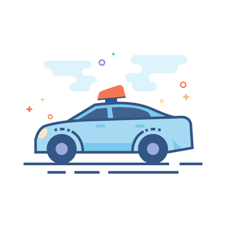 Safety car icon in outlined flat color style Vector illustration. Illustration