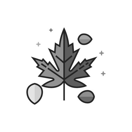 Leaves icon in flat outlined grayscale style. Vector illustration.
