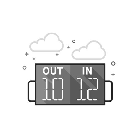 Player substitution board icon in flat outlined grayscale style Vector illustration. Foto de archivo - 94602725
