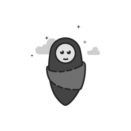 Newborn baby icon in flat outlined grayscale style Vector illustration.