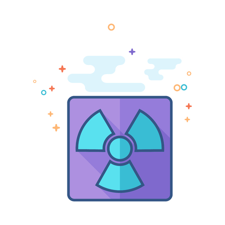Radioactive symbol icon in outlined flat color style. Vector illustration. Illustration