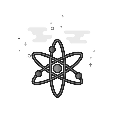 Atom structure icon in flat outlined grayscale style. Vector illustration. Illustration