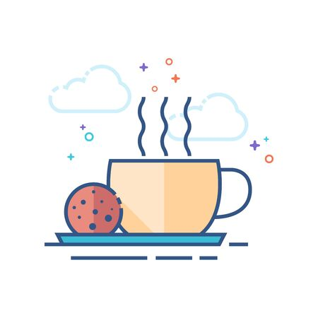 Coffee cup icon in outlined flat color style. Vector illustration.