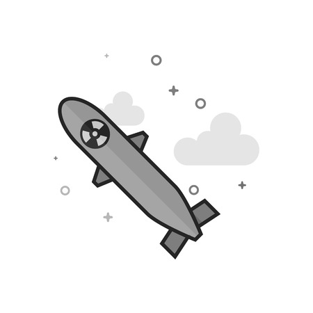 Missile icon in flat outlined grayscale style. Vector illustration.