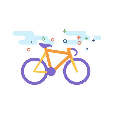 Track bike icon in outlined flat color style. Vector illustration.