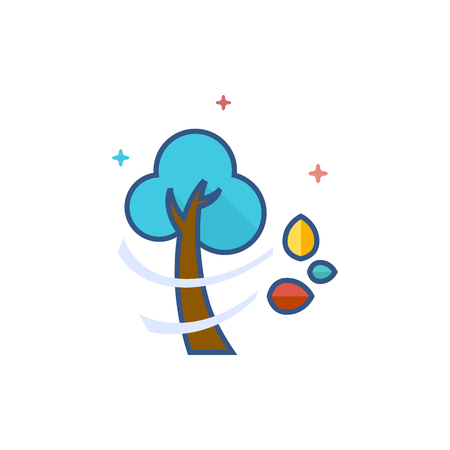 Tree icon in outlined flat color style. Vector illustration. Illustration
