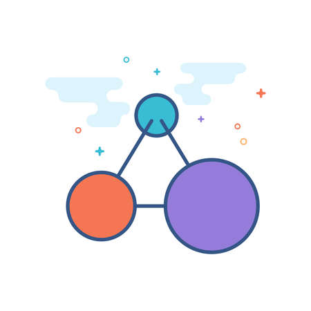 Connected dots icon in outlined flat color style Vector illustration.