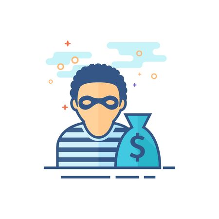 Burglar icon in outlined flat color style. Vector illustration.