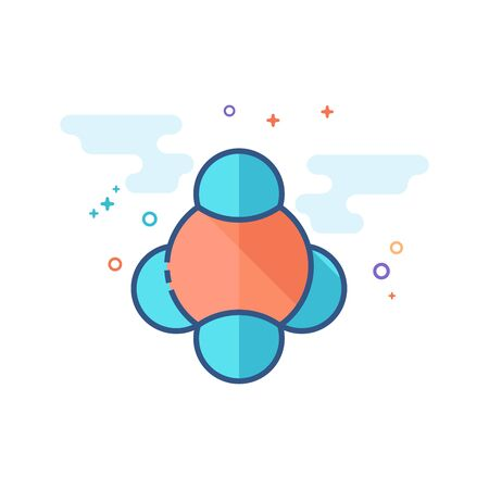 Molecules icon in outlined flat color style Vector illustration.