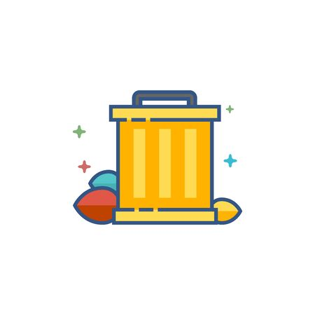 Trash bin icon in outlined flat color style Vector illustration.