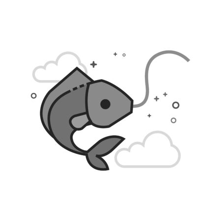 Hooked fish icon in flat outlined grayscale style. Vector illustration. Illustration
