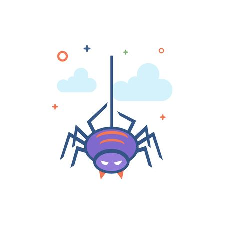 Spider icon in outlined flat color style. Vector illustration.