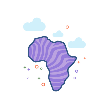Africa map striped icon in outlined flat color style. Vector illustration.