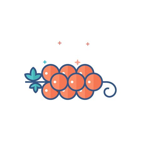 Grapefruit icon in outlined flat color style Vector illustration.