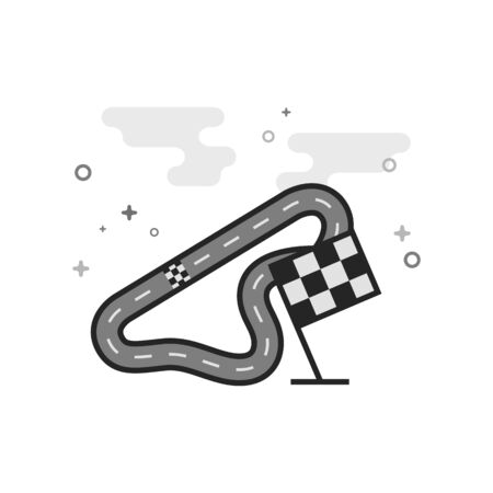 Race circuit icon in flat outlined grayscale style Vector illustration. Illustration