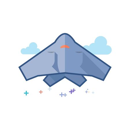 Stealth bomber  icon in outlined flat color style. Vector illustration.