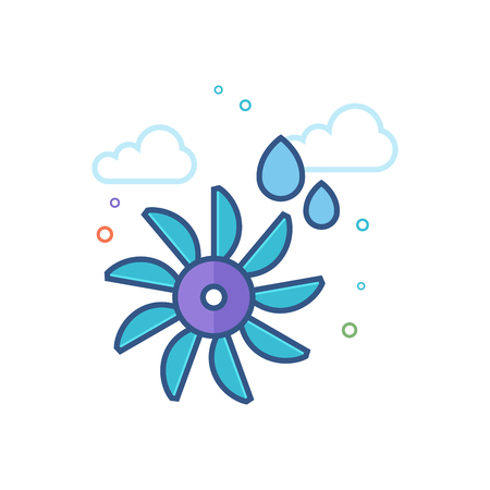 Water turbine icon in outlined flat color style. Vector illustration. Vettoriali