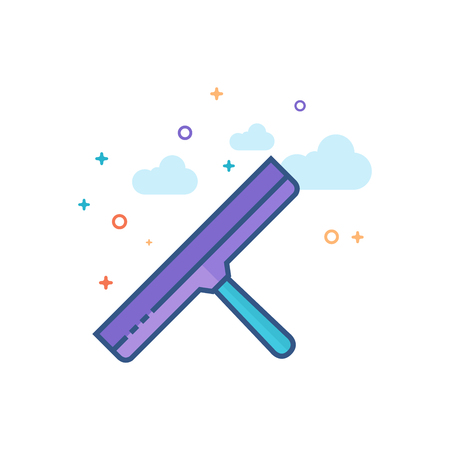 Glass scraper icon in outlined flat color style. Vector illustration.