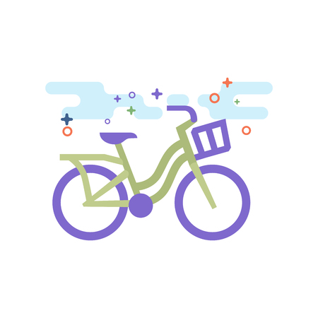 City bike icon in outlined flat color style. Vector illustration.