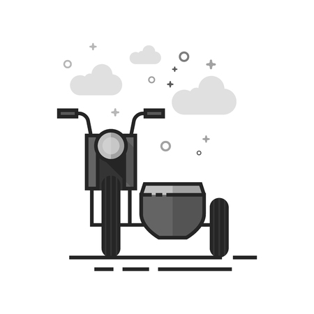Military motorcycle icon in flat outlined grayscale style. Vector illustration.