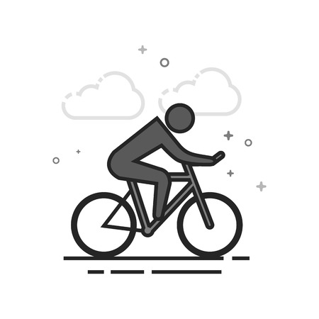 Cycling icon in flat outlined grayscale style. Vector illustration. Stock Illustratie