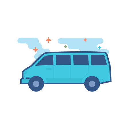 Car icon in outlined flat color style. Vector illustration. Illustration