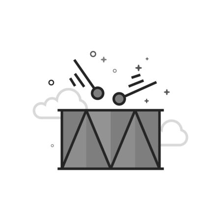 Drum icon in flat outlined grayscale style. Vector illustration.
