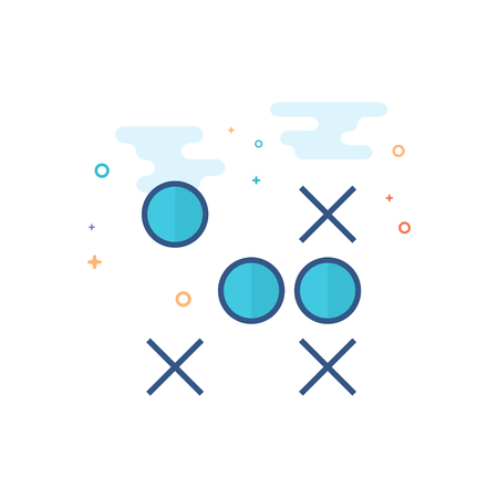 Strategy game icon in outlined flat color style. Vector illustration.
