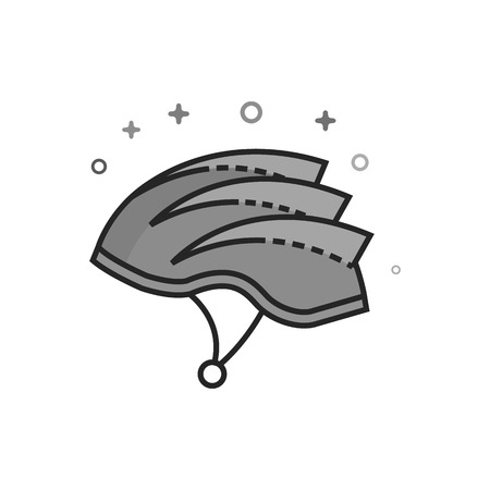 Bicycle helmet icon in flat outlined grayscale style. Vector illustration. Illustration