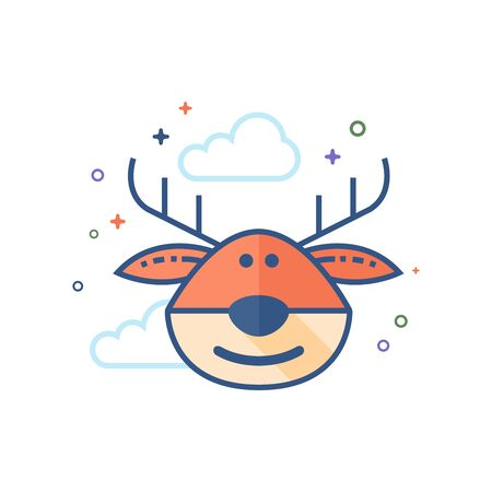 Rudolph the moose icon in outlined flat color style. Vector illustration.