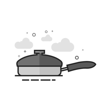 Cooking pan icon in flat outlined grayscale style. Vector illustration. Illustration