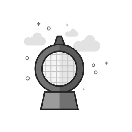Hazard light icon in flat outlined grayscale style. Vector illustration.