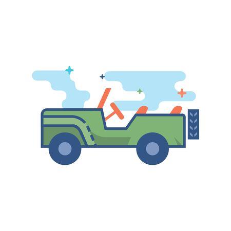 Militair voertuigpictogram in geschetste egale kleurstijl. Vector illustratie Stock Illustratie