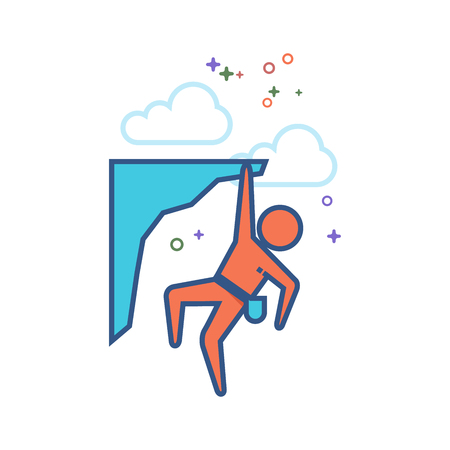 Rock climbing icon in outlined flat color style. Vector illustration.