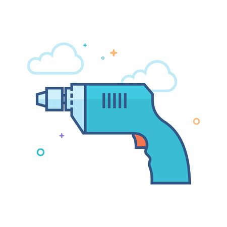 Electric drill icon in outlined flat color style. Vector illustration.