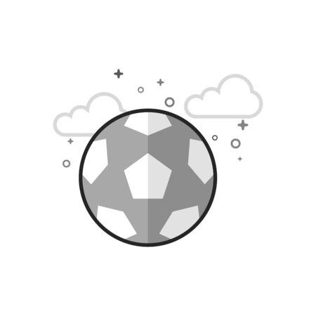Football icon in flat outlined grayscale style. Vector illustration.