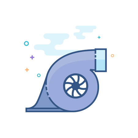 Turbo charger icon in outlined flat color style. Vector illustration.