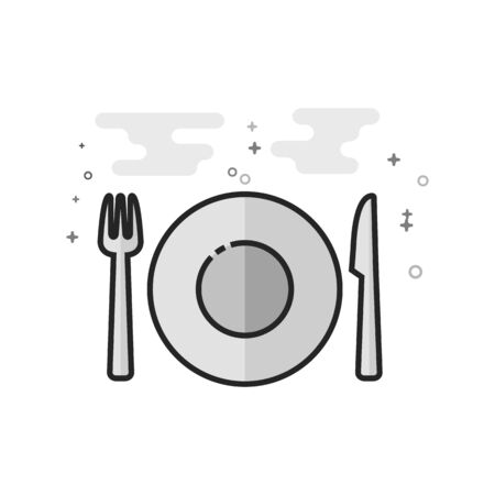 Dishes icon in flat outlined grayscale style. Vector illustration.