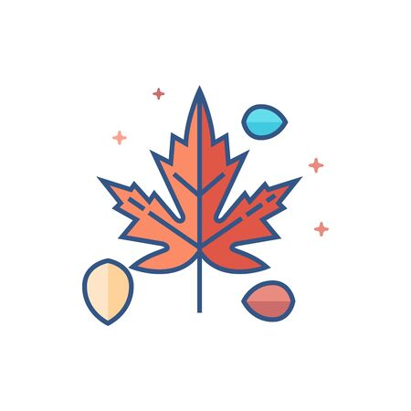 Leaves icon in outlined flat color style. Vector illustration. Illustration