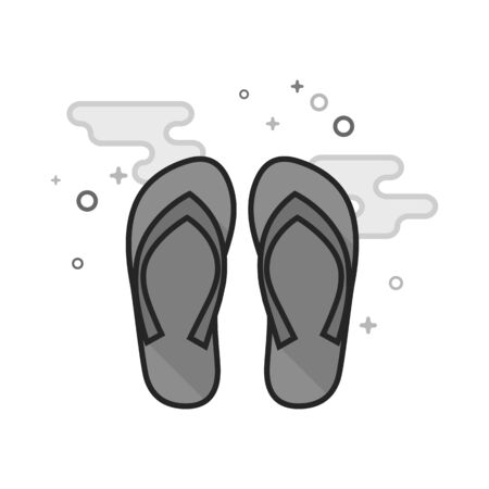 Slipper sandal icon in flat outlined grayscale style. Vector illustration.