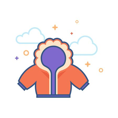 Jacket icon in outlined flat color style. Vector illustration. Illustration