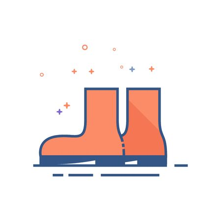 Wet boots icon in outlined flat color style. Vector illustration.